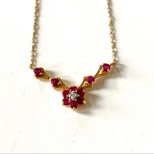 VINTAGE, Garnet-Gold flower necklace